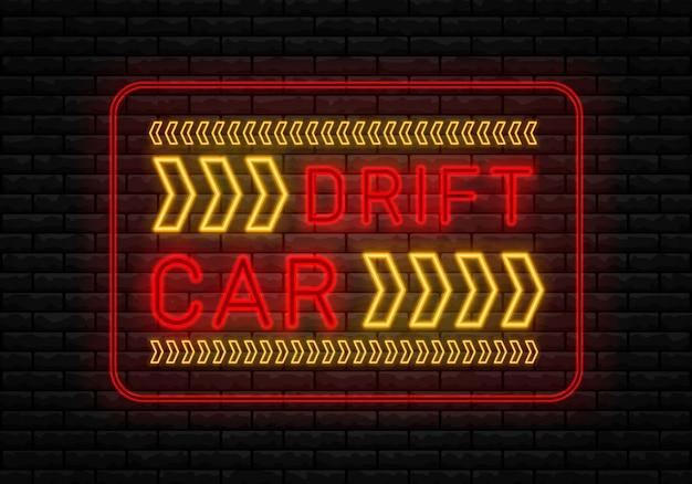 Tekst neonu drift show racing. drift banner do sieci lub wydruku.