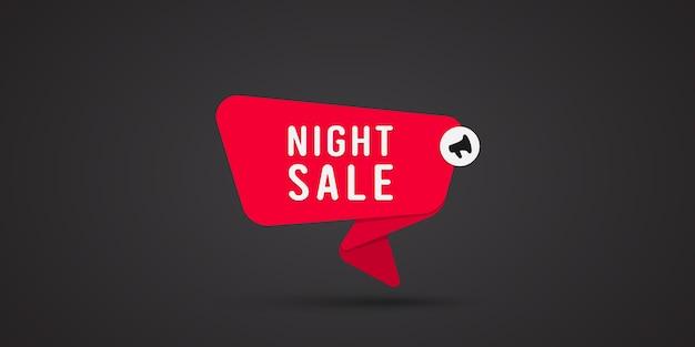 Tekst nocnej sprzedaży z głośnikiem. jasny baner.