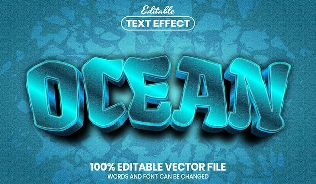 Tekst oceanu, edytowalny efekt tekstu w stylu czcionki