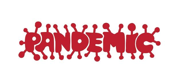 Tekst pandemiczny w formie koronawirusa.