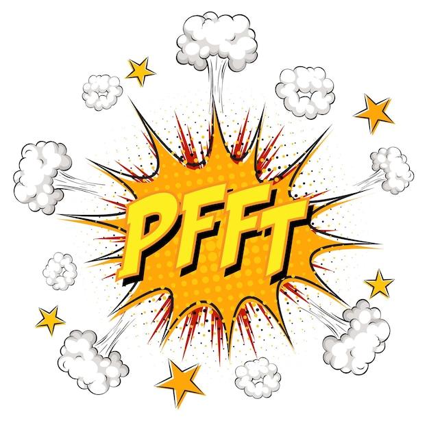 Tekst pfft na komiksowej eksplozji chmury na białym tle