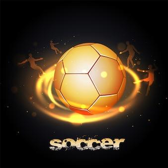 Tekst piłka nożna i błyszczący złoty futbol