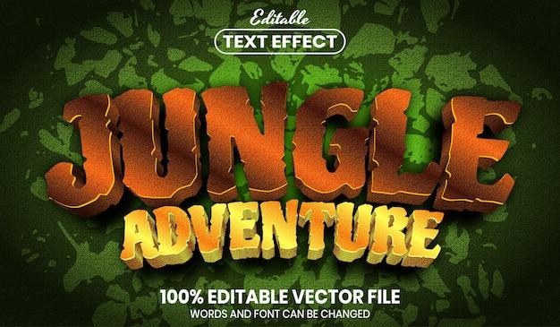 Tekst przygodowy w dżungli, edytowalny efekt tekstowy w stylu czcionki