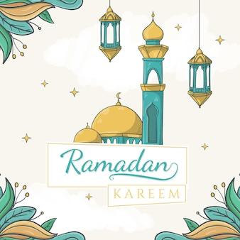Tekst ramadan kareem na papierowych tagach z ręcznie rysowanym meczetem i islamskim ornamentem