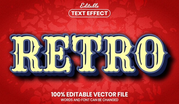 Tekst retro, edytowalny efekt tekstu w stylu czcionki