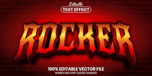 Tekst rocker, edytowalny efekt tekstu w stylu czcionki font