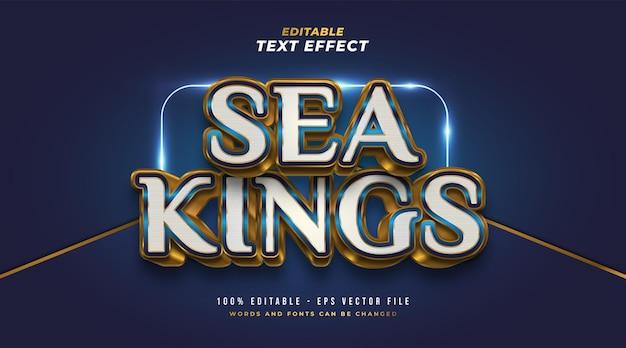 Tekst sea kings w kolorze białym, niebieskim i złotym z wytłoczonym efektem 3d. edytowalny efekt stylu tekstu
