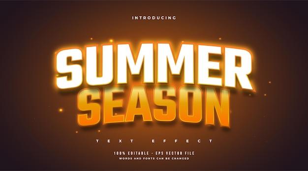 Tekst sezonu letniego w stylu biało-pomarańczowym z efektem neonu. edytowalny efekt tekstowy