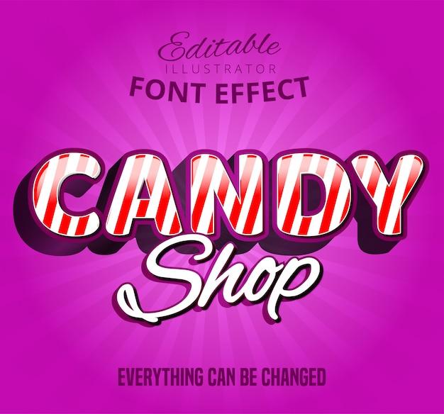 Tekst sklepu ze słodyczami, efekt czcionki edytowalnej