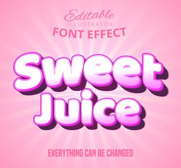 Tekst słodkiego soku, efekt czcionki edytowalnej