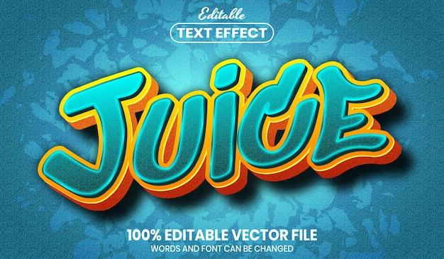 Tekst soku, edytowalny efekt tekstu w stylu czcionki font