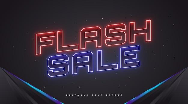 Tekst sprzedaży flash w kolorze czerwonym i niebieskim neon effect. edytowalny efekt stylu tekstu