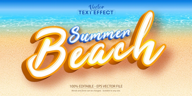 Tekst summer beach, edytowalny efekt tekstowy w stylu kreskówki