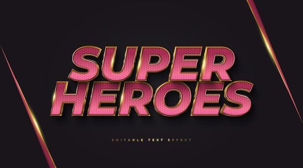 Tekst super heroes w kolorze czerwonym i złotym z wytłoczonym efektem 3d. edytowalny efekt stylu tekstu