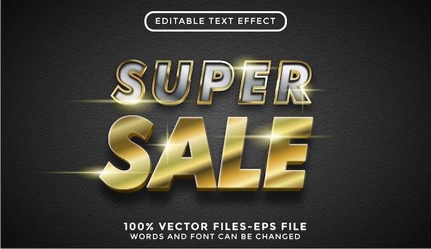 Tekst super sprzedaży. edytowalny efekt tekstowy ze złotymi wektorami premium