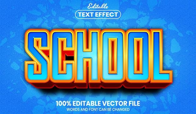Tekst szkolny, edytowalny efekt tekstowy w stylu czcionki
