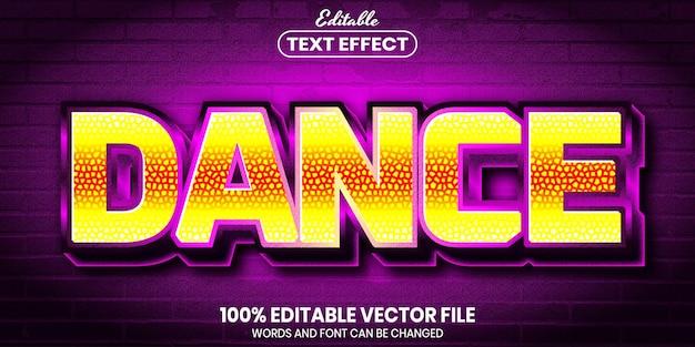 Tekst taneczny, edytowalny efekt tekstowy w stylu czcionki
