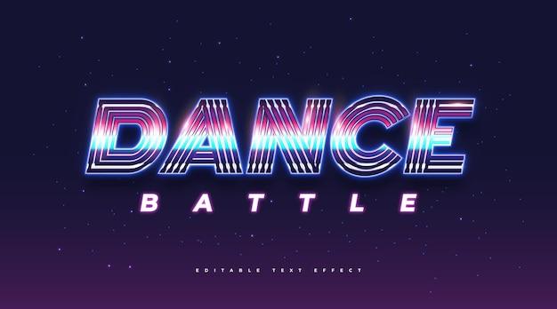 Tekst taneczny w kolorowym stylu retro i efekt neonowy. edytowalny efekt stylu tekstu