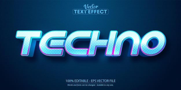 Tekst techno, edytowalny tekst w stylu neonowym