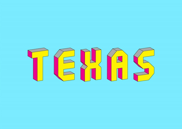 Tekst texas z efektem izometrycznym 3d