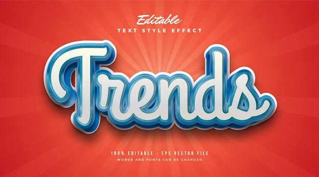 Tekst trends w kolorze białym i niebieskim z wytłoczonym efektem. edytowalny efekt stylu tekstu