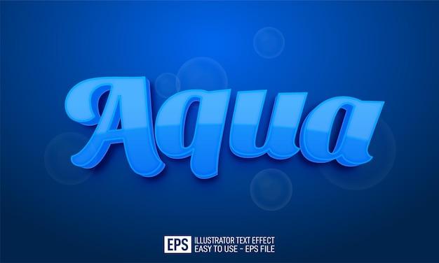 Tekst trójwymiarowy aqua, edytowalny szablon efektu stylu