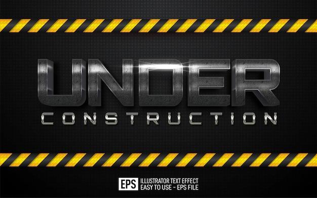 Tekst trójwymiarowy under construction, edytowalny szablon efektu stylu