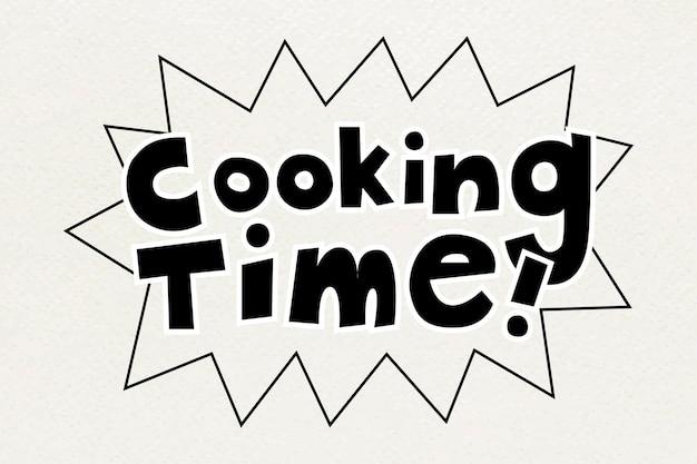 Tekst typografia słów czas gotowania