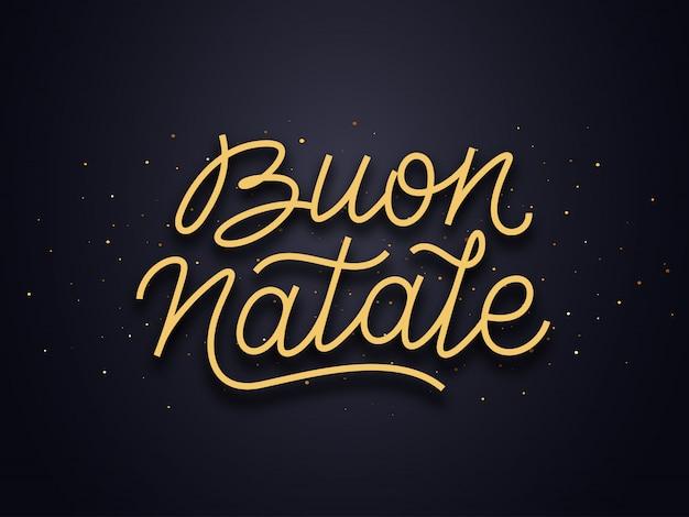 Tekst typografii buon natale. kartka świąteczna wektor