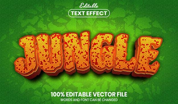 Tekst w dżungli, edytowalny efekt tekstowy w stylu czcionki