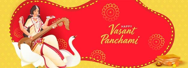Tekst w języku hindi życzenia vasant panchami z postacią bogini saraswati w kwiat lotosu, ptak łabędź