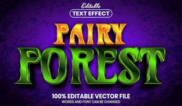 Tekst w lesie bajki, edytowalny efekt tekstu w stylu czcionki
