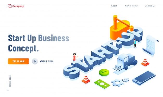 Tekst W Stylu 3d Firmy Rozpoczynającej Działalność Premium Wektorów