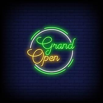Tekst w stylu grand open neon signs