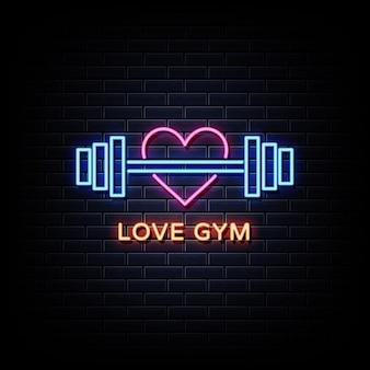 Tekst w stylu love gym neon signs