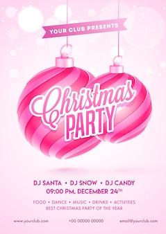 Tekst w stylu naklejki christmas party z wiszącymi bombkami i detalami miejsca na różowym efekcie bokeh dla karty zaproszenia.