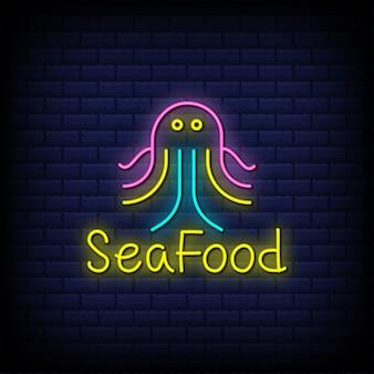 Tekst w stylu neonowego znaku owoców morza z ikoną ośmiornicy