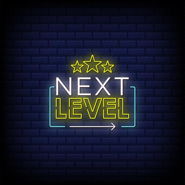 Tekst w stylu neonowych znaków następnego poziomu z gwiazdami i
