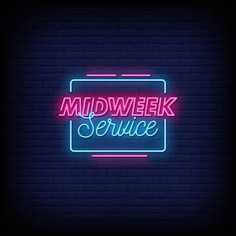 Tekst w stylu neonowych znaków w środku tygodnia