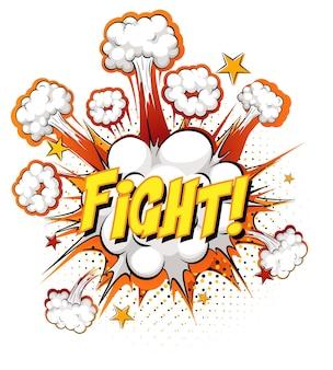 Tekst walcz o eksplozję chmury komiksowej na białym tle