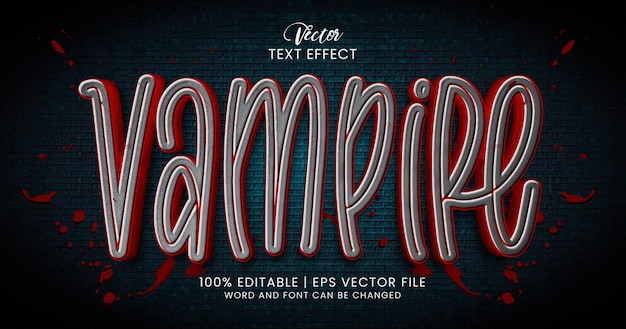 Tekst wampira, szablon stylu edytowalnego efektu tekstowego horroru
