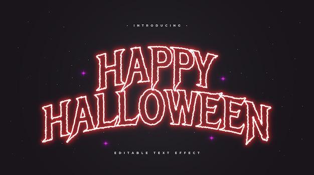 Tekst wesołego halloween w stylu horroru z efektem świecącego czerwonego neonu