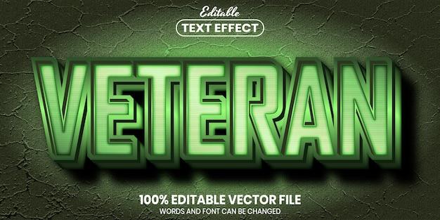 Tekst weterana, edytowalny efekt tekstowy w stylu czcionki