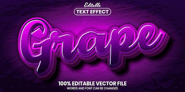 Tekst winogron, edytowalny efekt tekstu w stylu czcionki