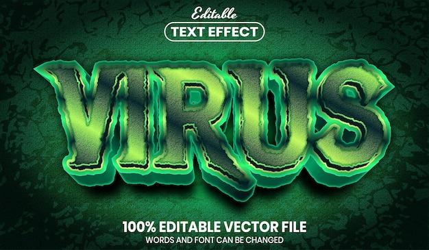 Tekst wirusa, edytowalny efekt tekstu w stylu czcionki