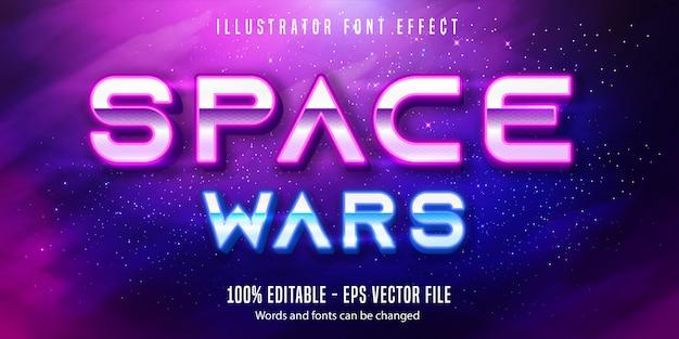 Tekst wojny kosmicznej, edytowalny efekt tekstu w stylu neonowym