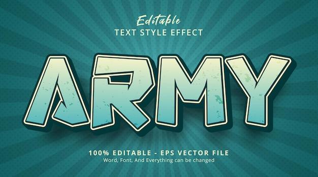 Tekst wojskowy na temat fantazyjnego efektu komiksowego, edytowalny efekt tekstowy