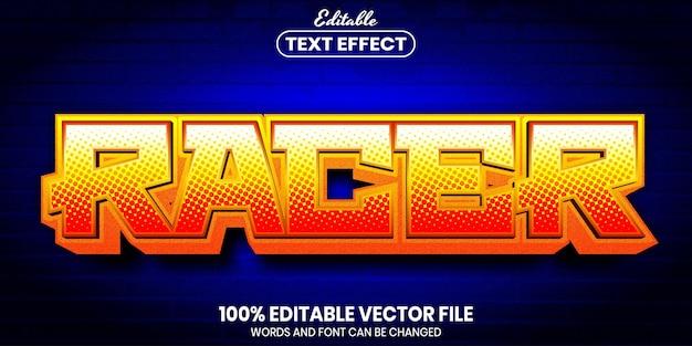 Tekst wyścigowy, edytowalny efekt tekstowy w stylu czcionki