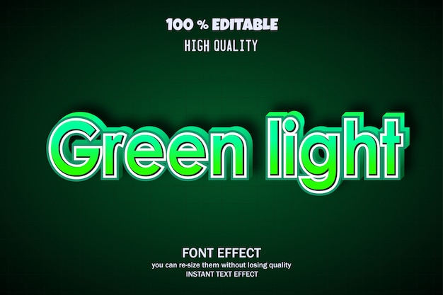 Tekst zielonego światła, efekt czcionki edytowalnej