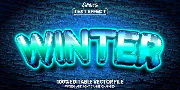 Tekst zimowy, edytowalny efekt tekstowy w stylu czcionki